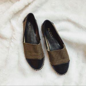 Aldo black & gold leather espadrilles